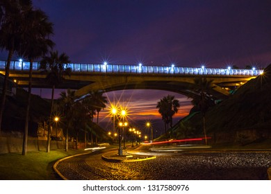 Villena Bridge at night Miraflores, Lima Peru