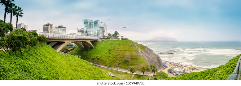 The Villena Rey Bridge in Miraflores distric in Lima, Peru. Panoramic view.