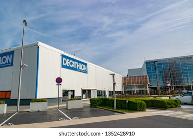 Villeneuve d'Ascq,FRANCE-March 24,2019: Decathlon store and its headquarters in Villeneuve d'Ascq.French market Decathlon is one of the largest sales networks for sports equipment in the world.