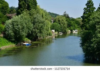 Villennes sur Seine, France - june 29 2018 : the picturesque city centre in summer