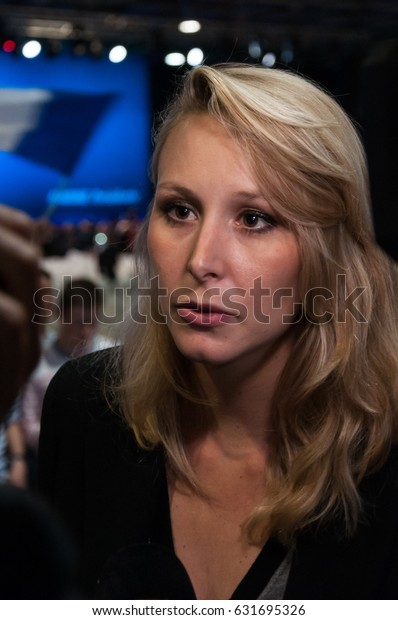 VILLEPINTE, FRANCE - MAY 1, 2017 : Marion Maréchal-Le Pen, after the meeting of her aunt Marine Le Pen, 6 days before the second round of the french presidential election.
