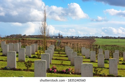 Villers-Bretonneux, Somme Department, Picardy Region, France - March 14 2019: Australian National War Memorial Cemetery for soldiers killed during World War One