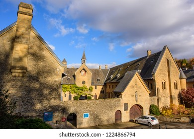Villers-devant-Orval, Florenville, Belgium - November 8, 2018: Entrance to the Abbaye Notre-Dame d'Orval, a Cistercian monastery and Trappist beer brewery, Orval