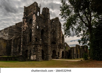 Villers-La-Ville, Belgium - August 19 2020: Ruins of the medieval abbey