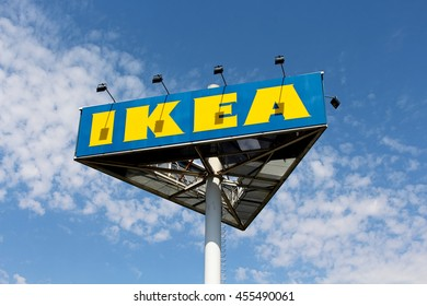 VILLIERS SUR MARNE - FRANCE, JULY 20, 2016: Ikea sign. IKEA is a Swedish company specializing in the design and retail of furniture and decorative items ready to install or mount kit.