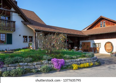 VILLIGEN, SWITZERLAND - APRIL 15, 2019. Beautiful country house decorated for the Easter holiday on a sunny spring day. Village of Villigen, Brugg district, canton of Aargau, Switzerland