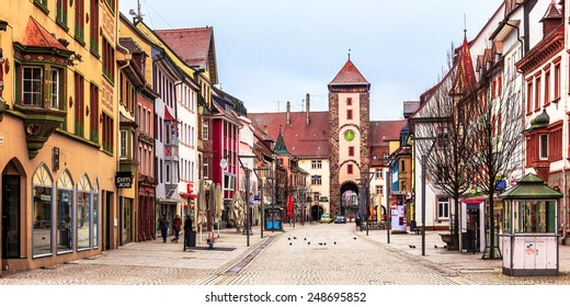 VILLINGEN, GERMANY - JANUARY 24 2015: German City of Villingen. Medieval Old Town with historical buildings in the Morning in Baden Wurttemberg