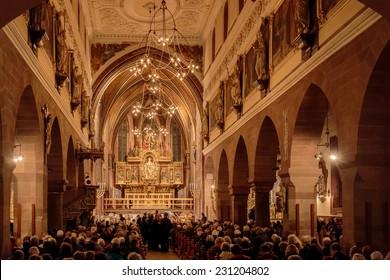 VILLINGEN, GERMANY - NOVEMBER 09 2014: Interior Picture of Villingen Cathedral in the German Black Forest. Lovely evening atmosphere