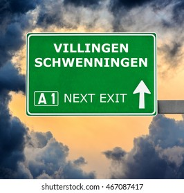 VILLINGEN SCHWENNINGEN road sign against clear blue sky