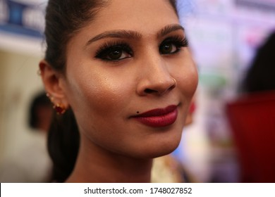 VILLUPURAM, TAMIL NADU / INDIA - MAY 6, 2019: Portrait of an asian transgender woman