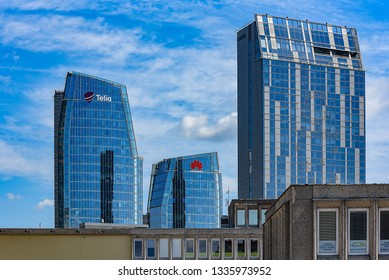 Vilniua,Lithuania-June 17,2018;Telia and Huawei modern skyscraper.