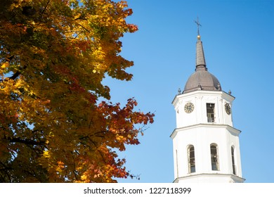 Vilnius Bell Tower Framed by Autumn Leaves - Vilnius, Lithuania