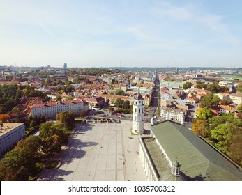 Vilnius cathedral square aerial photo - Cathedral square in Vilnius drone photo - Summer time in Vilnius is the best time to visit Lithuania