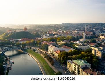 Vilnius City Old Town and Gediminas' Tower Aerial Panorama
