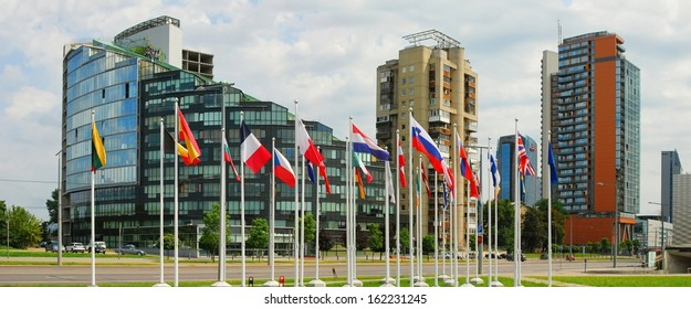 Vilnius city skyscrapers and European Union flags. Lithuania.