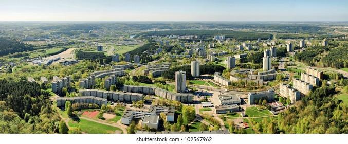 Vilnius Lazdynai district view from bird eyes.