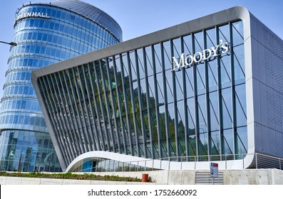 Vilnius / Lithuania - 05 01 2020: Modern office building with Moody's logo on it