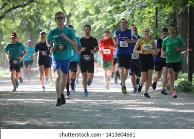Vilnius, Lithuania, 2 June 2019: thousands of professional athletes and amateur runners from many countries compete at traditional running festival Nike We Run Vilnius 2019