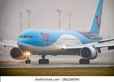 Vilnius, Lithuania 2020-11-12 TUI Airways Boeing 767-300ER airplane (g-obyh`)
