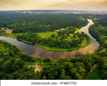 Vilnius, Lithuania: aerial top view of U turn of Neris river and Verkiai park. Vilnius is one of the greenest capital cities of the world.