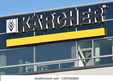 Vilnius, Lithuania - April 02: Karcher brand logotype in Vilnius on April 02, 2019. Karcher is a German company that operates worldwide and is known for its high pressure cleaners floor care equipment
