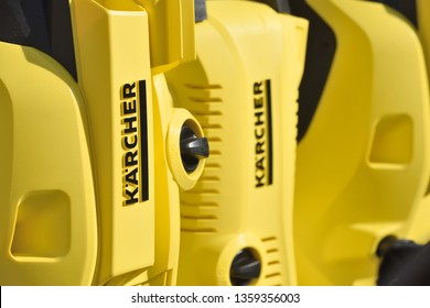 Vilnius, Lithuania - April 04: Karcher high pressure cleaners in Vilnius on April 04, 2019. Karcher is a German company that operates worldwide and is known for its high pressure cleaners