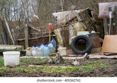 VILNIUS, LITHUANIA - APRIL 10, 2016: The emigrants  slums and sheds in the urban residential city area.  In any European country emigrants don't want to observe universal laws