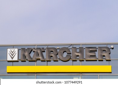 Vilnius, Lithuania- April 12, 2018: Karcher logo on the building. Karcher is one of the largest cleaning equipment manufacturer