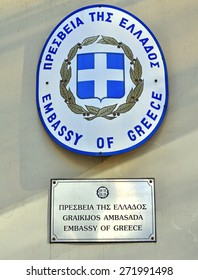 VILNIUS, LITHUANIA - APRIL 12: Sign and flag of Greek Embassy in Vilnius downtown on April 12, 2015. Greece is a country located in southeastern Europe.