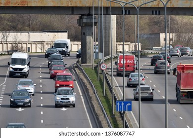Vilnius, Lithuania - April 18: Traffic, cars on highway road in Vilnius on April 18, 2019. Vilnius is the capital of Lithuania and its largest city.
