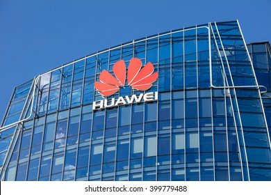 VILNIUS, LITHUANIA - April 2, 2016 : Huawei skyscraper in the Vilnius city centre. Modern offices of the Chinese technology company Huawei Headquarters in Vilnius, Lithuania
