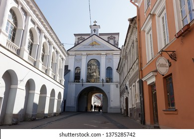Vilnius, Lithuania april 2, 2019: The Gate Of Dawn, The Religious, Historical And Cultural Monument, The Only Surviving Gate Of Ancient City Walls And The Chapel With Miraculous Image  Lady Of Mercy.