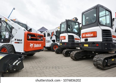 Vilnius, Lithuania - April 25: Bobcat heavy duty equipment vehicle and logo on April 25, 2018 in Vilnius Lithuania. Bobcat Company is an American-based manufacturer of farm and construction equipment.