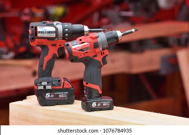 Vilnius, Lithuania - April 25: Milwaukee power tools on April 25, 2018 in Vilnius Lithuania. The Milwaukee Electric Tool Corporation produces power tools and hand tools