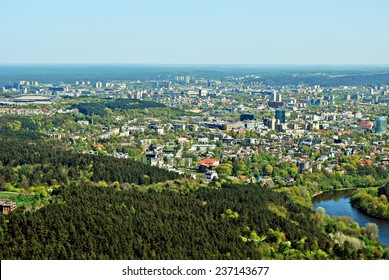 VILNIUS, LITHUANIA - APRIL 26: Vilnius city capital of Lithuania aerial view from Karoliniskes on April 26, 2014, Vilnius, Lithuania