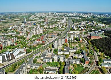 VILNIUS, LITHUANIA - APRIL 26: Vilnius city capital of Lithuania aerial view from Karoliniskes on April 26, 2014, Vilnius,  Lithuania.