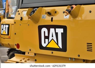 VILNIUS, LITHUANIA - APRIL 27: Caterpillar heavy duty equipment vehicle and logo on April 27, 2017 in Vilnius, Lithuania. Caterpillar is a leading manufacturer of construction equipment.