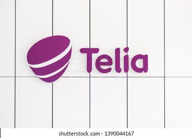 VILNIUS, LITHUANIA - APRIL 28, 2019: Closeup view of Telia logo on Coporate Headquarters building
