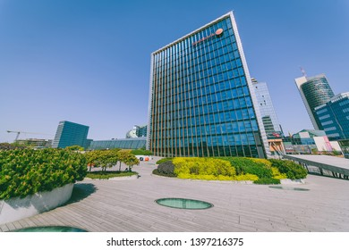 VILNIUS, LITHUANIA - APRIL 28, 2019: The Head Office of Swedbank. It is the leading bank in Sweden, Estonia, Latvia and Lithuania