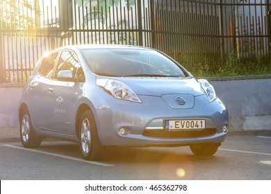 VILNIUS, LITHUANIA - AUGUST 05, 2016: All-electric car exterior. Nissan Leaf is the first mass-produced electric car.