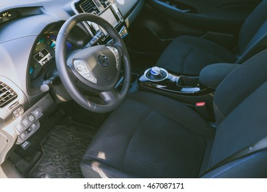 VILNIUS, LITHUANIA - AUGUST 05, 2016: All-electric car interior. Nissan Leaf is the first mass-produced electric car.