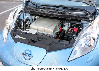 VILNIUS, LITHUANIA - AUGUST 05, 2016: All-electric car motor. Nissan Leaf is the first mass-produced electric car.