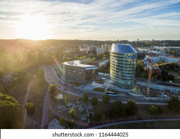 VILNIUS, LITHUANIA - AUGUST 06, 2018: Lithuanian Business District with Green Hall and Barclay Building in Background