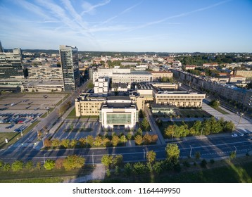 VILNIUS, LITHUANIA - AUGUST 06, 2018: Lithuanian Parliament and National Library In Background