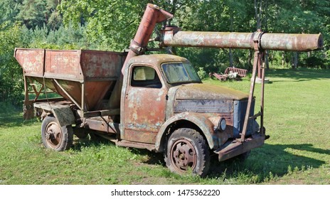 VILNIUS, LITHUANIA - AUGUST 10, 2019: A modification of the Soviet GAZ-51 rotted  broken  rusty  ruck for agriculture is in the Bread Museum. It is theecological area in Lithuanian capital- Pilaite