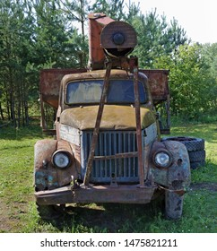 VILNIUS, LITHUANIA - AUGUST 10, 2019: A modification of the Soviet GAZ-51 rotted broken rusty truck for agriculture is in the Bread Museum. It is the most ecological area in Lithuanian capital Pilaite