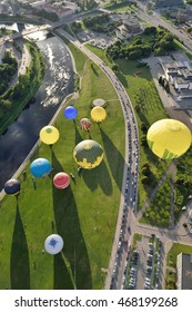 VILNIUS, LITHUANIA - AUGUST 11 2016: Hot air balloons in Vilnius city center on August 11, 2016 in Vilnius, Lithuania. Vilnius is one of few cities where hot air ballooning over the city is permitted.