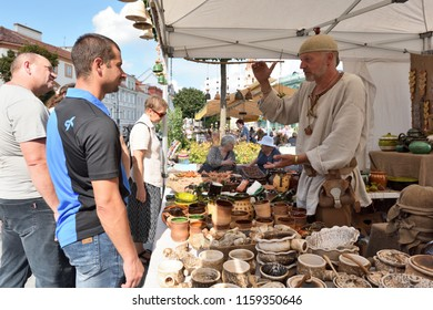 Vilnius, Lithuania, August 18: Unknown people trade souvenirs in Traditional St. Bartholomews Fair on August 18, 2018 in Vilnius, Lithuania. Vilnius is the capital of Lithuania and its largest city.