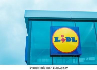 Vilnius, Lithuania- August 25, 2018: Sign of Lidl Supermarket. Lidl is a German discount supermarket chain