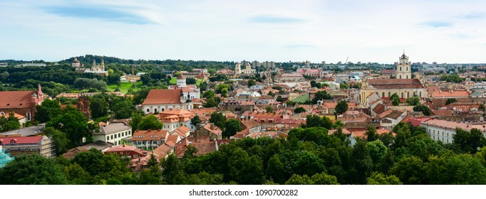 Vilnius, Lithuania - August 3, 2017: The cityscape old town of Vilnius, Lithuania. Medieval architecture, Gothic style buildings